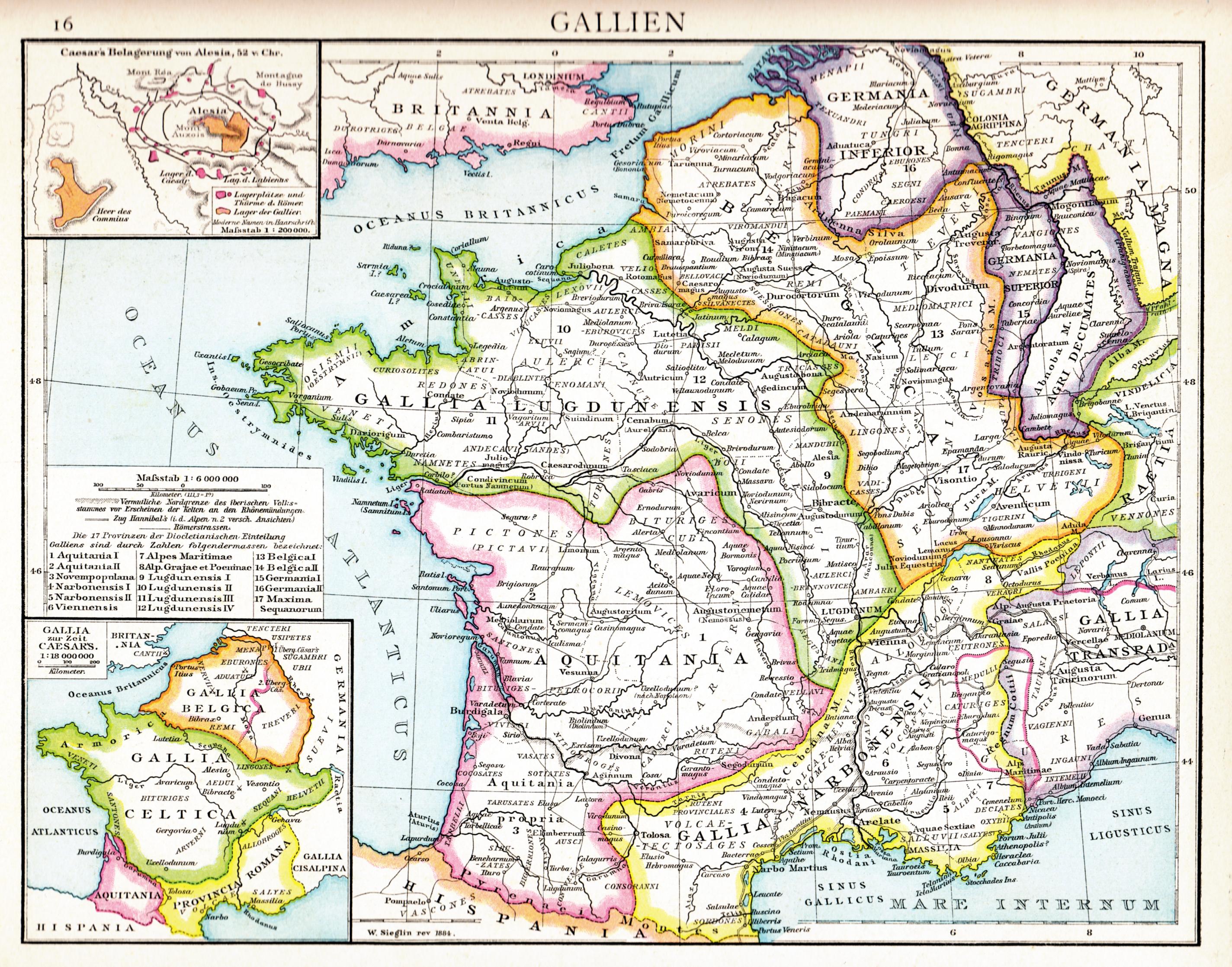 'Alte historische Karte Galliens unter Römischer Herrschaft', in: Gustav Droysen, Allgemeiner historischer Handatlas in 96 Karten mit erläuterndem Text, Velhagen & Klasing, 1886, S. 16