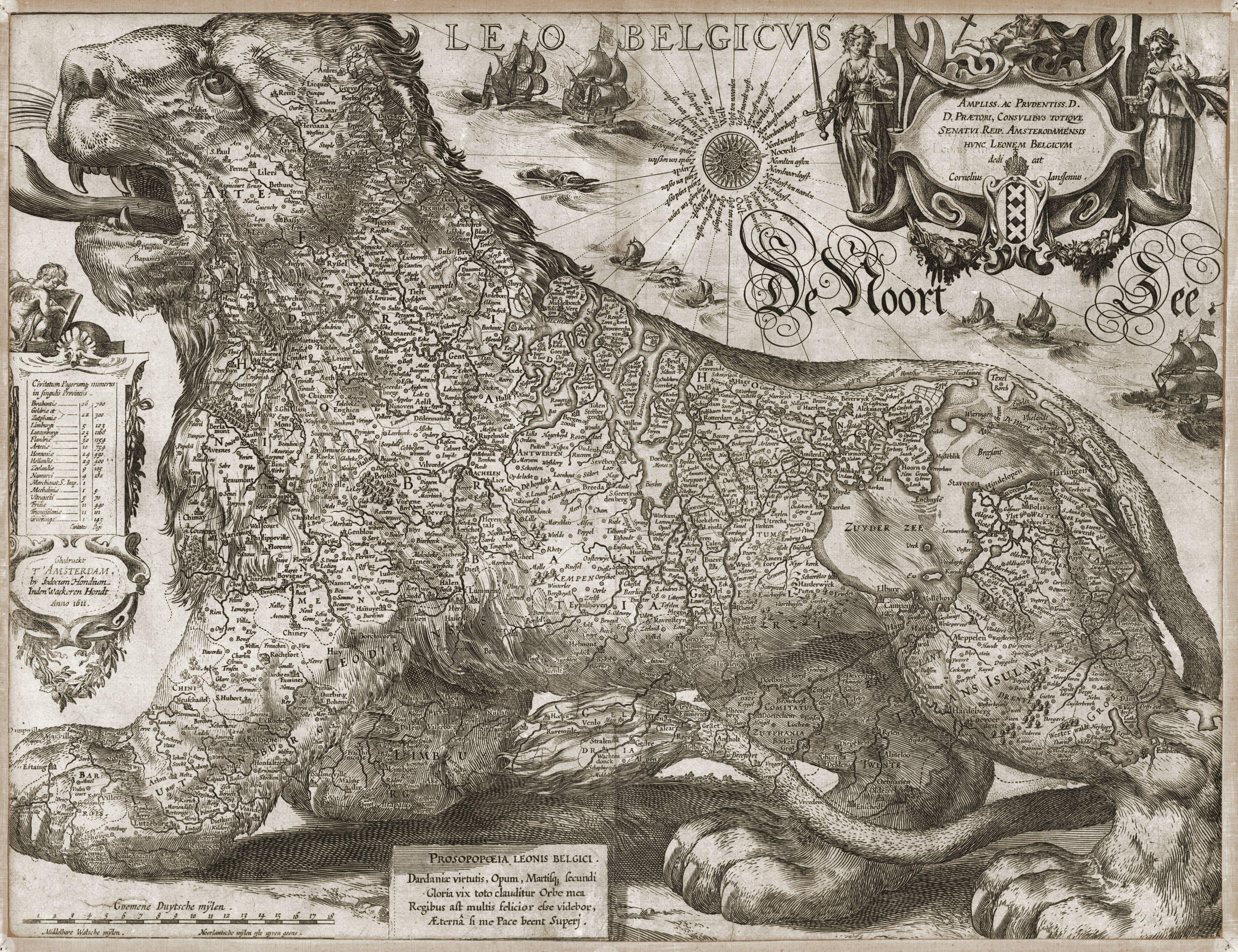 Jodocus Hondius, 'Leo Belgicus', Inden Wackeren Hondt, 1611