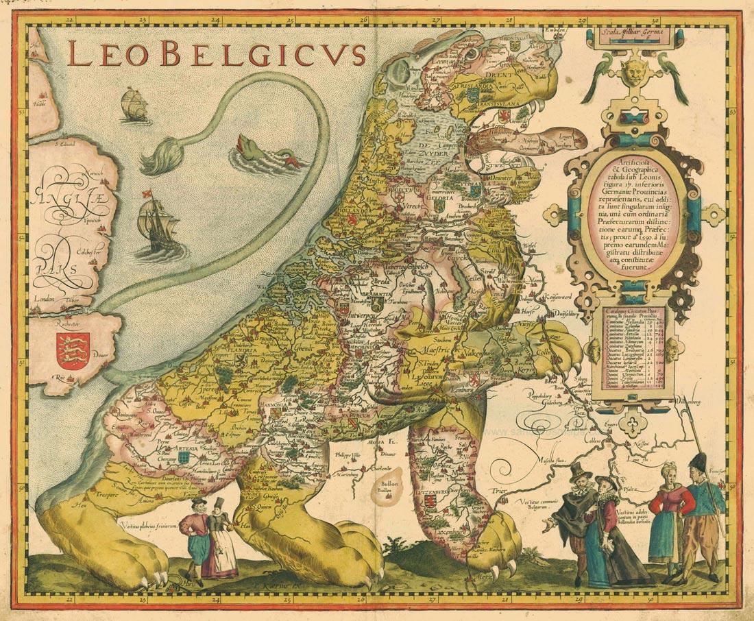 Michael Aitsinger/Frans Hogenberg, 'Leo Belgicus', in: De Leone Belgico, 1583
