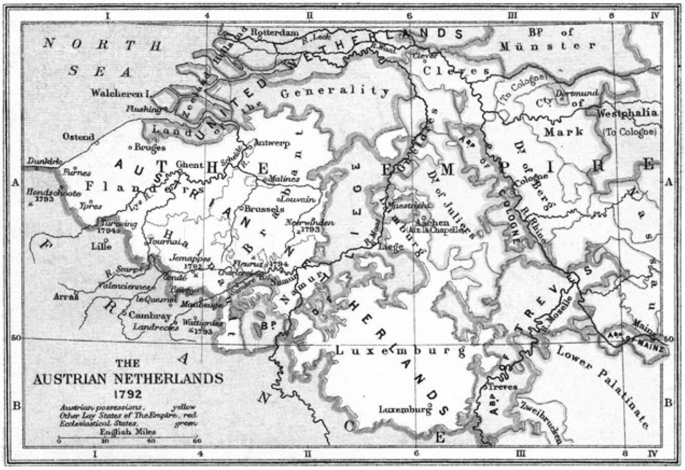'The Austrian Netherlands 1792', in: Samuel R. Gardiner, A School Atlas of English History, 1892, kaart 47